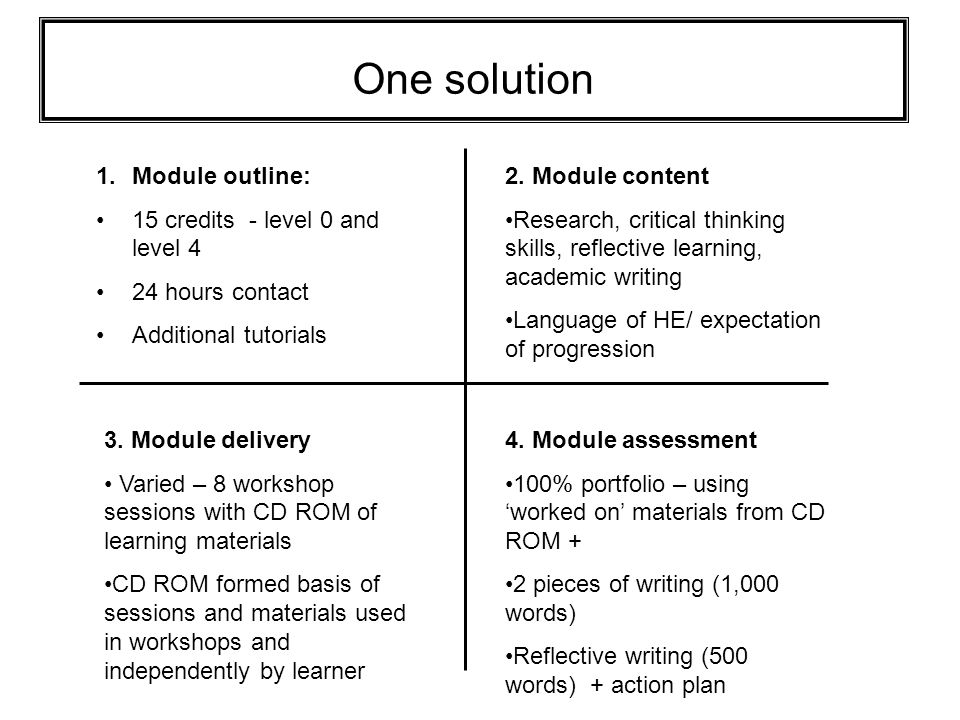 Recommendations Course evaluated extremely well with learners and tutors Address problems learners may have e.g.