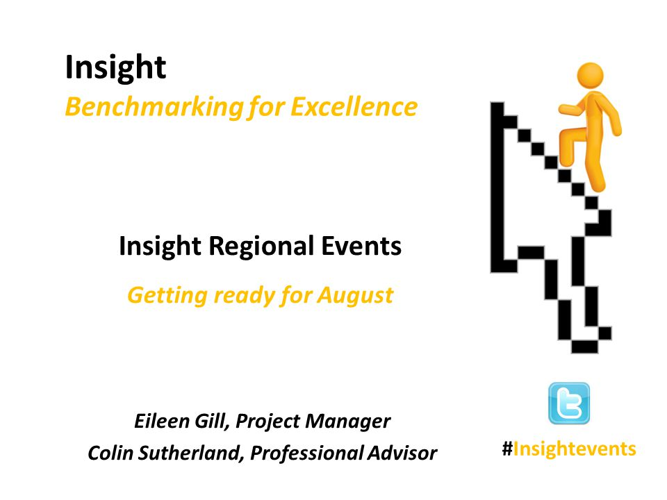 Agenda Scottish Government - presentation and tour of Insight - group activity Education Scotland - scenarios - use of Insight in inspections Plenary and Q & A Closing remarks