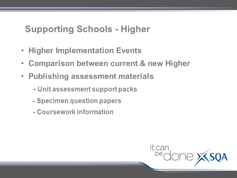 Supporting Schools - Higher Higher Implementation Events Comparison between current & new Higher Publishing assessment materials - Unit assessment sup