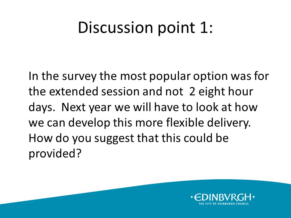 Discussion point 1: In the survey the most popular option was for the extended session and not 2 eight hour days.