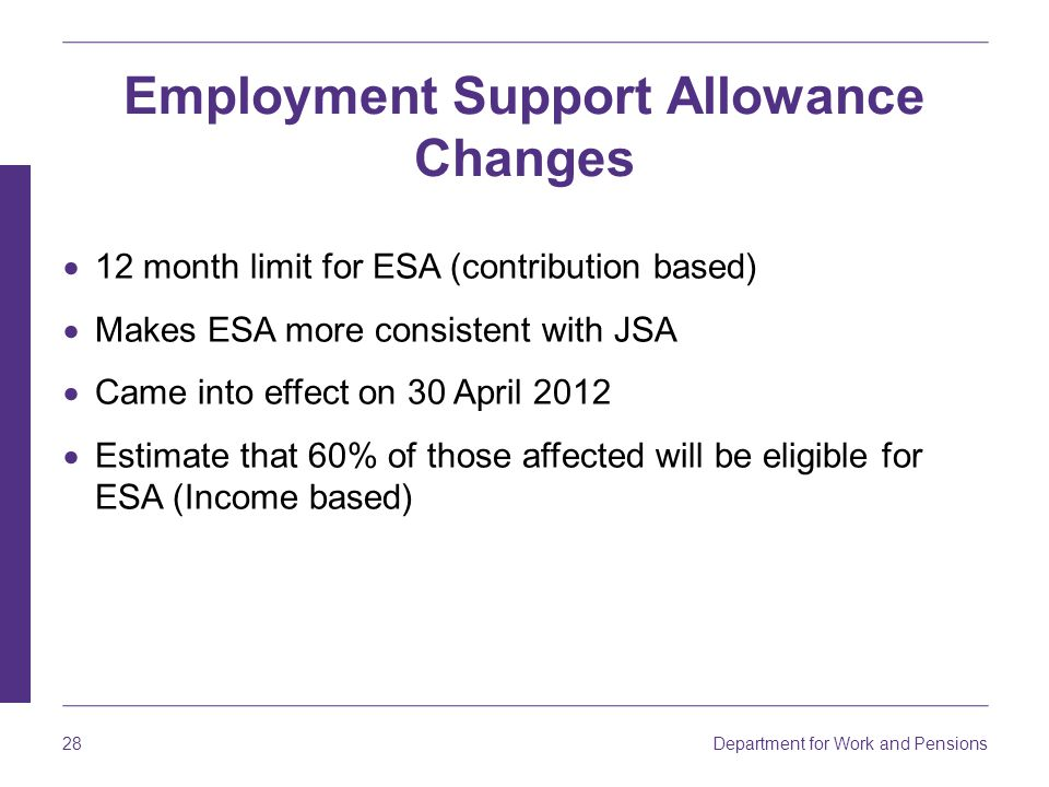 Department for Work and Pensions 28 Employment Support Allowance Changes  12 month limit for ESA (contribution based)  Makes ESA more consistent with JSA  Came into effect on 30 April 2012  Estimate that 60% of those affected will be eligible for ESA (Income based)
