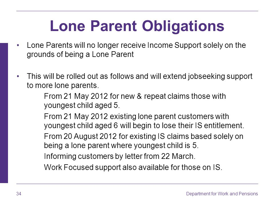 Department for Work and Pensions 34 Lone Parent Obligations Lone Parents will no longer receive Income Support solely on the grounds of being a Lone Parent This will be rolled out as follows and will extend jobseeking support to more lone parents.