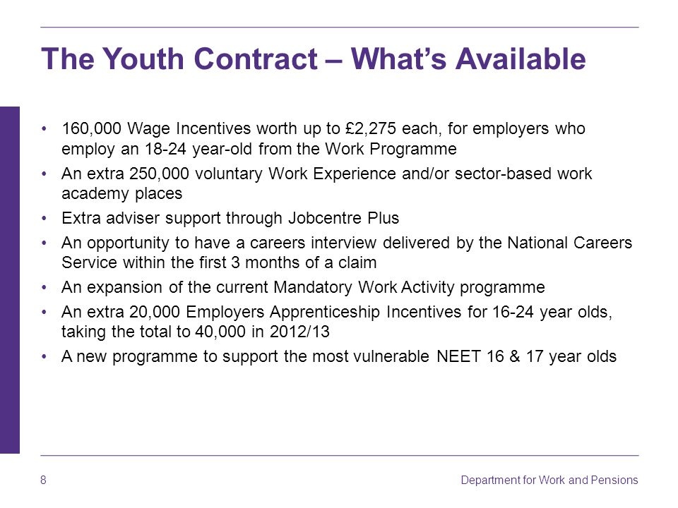 Department for Work and Pensions 8 The Youth Contract – What's Available 160,000 Wage Incentives worth up to £2,275 each, for employers who employ an 18-24 year-old from the Work Programme An extra 250,000 voluntary Work Experience and/or sector-based work academy places Extra adviser support through Jobcentre Plus An opportunity to have a careers interview delivered by the National Careers Service within the first 3 months of a claim An expansion of the current Mandatory Work Activity programme An extra 20,000 Employers Apprenticeship Incentives for 16-24 year olds, taking the total to 40,000 in 2012/13 A new programme to support the most vulnerable NEET 16 & 17 year olds