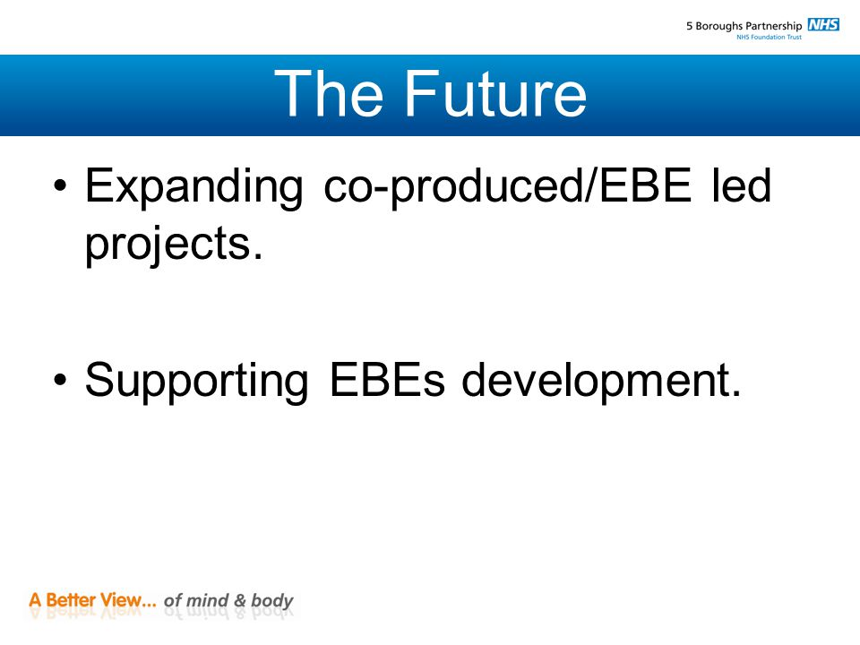 The Future Expanding co-produced/EBE led projects. Supporting EBEs development.