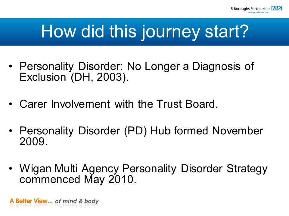 How did this journey start. Personality Disorder: No Longer a Diagnosis of Exclusion (DH, 2003).