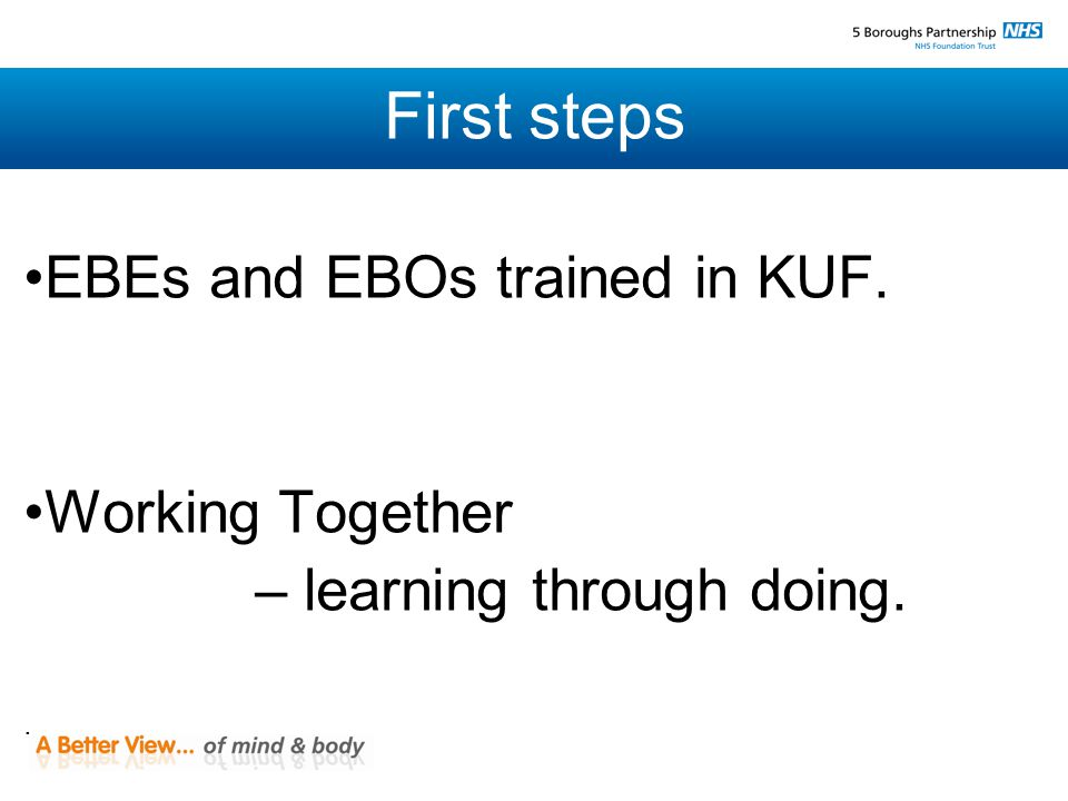 First steps EBEs and EBOs trained in KUF. Working Together – learning through doing..