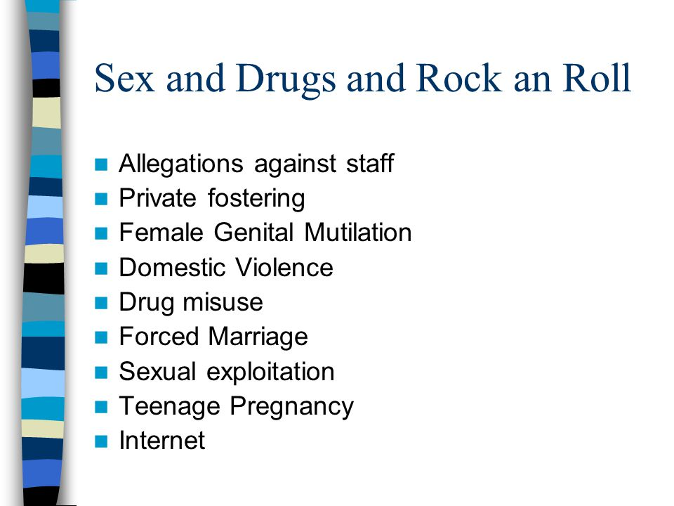 Sex and Drugs and Rock an Roll Allegations against staff Private fostering Female Genital Mutilation Domestic Violence Drug misuse Forced Marriage Sexual exploitation Teenage Pregnancy Internet