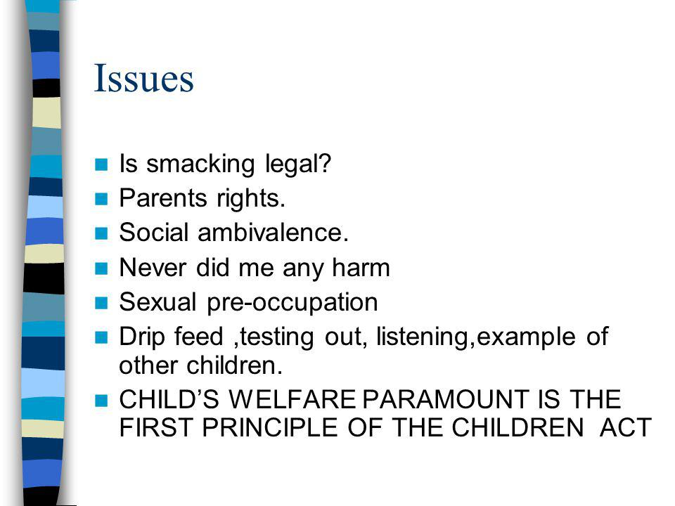 Issues Is smacking legal. Parents rights. Social ambivalence.