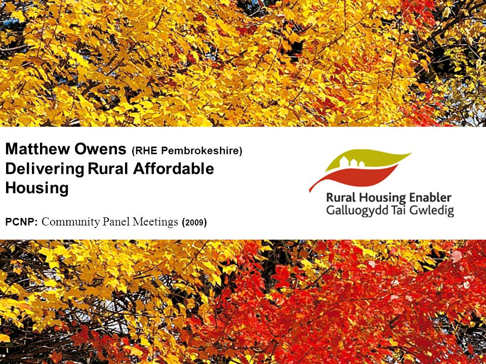 Matthew Owens (RHE Pembrokeshire) Delivering Rural Affordable Housing PCNP: Community Panel Meetings ( 2009 )
