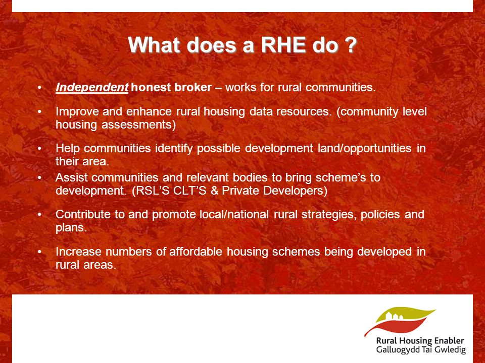 What does a RHE do . Independent honest broker – works for rural communities.