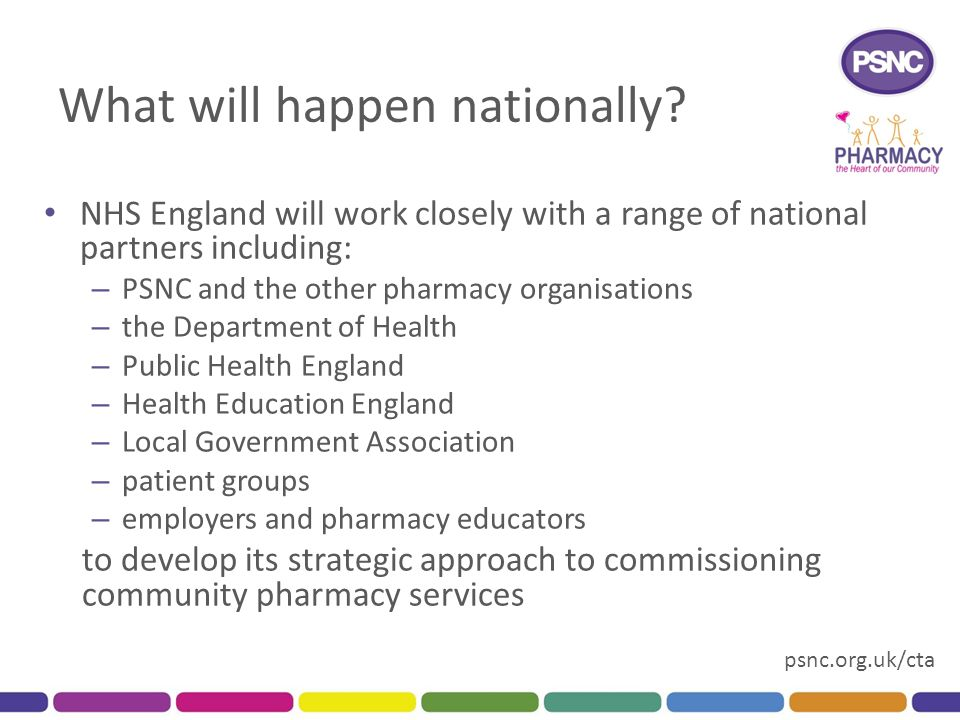 psnc.org.uk/cta What will happen nationally? NHS England will work closely with a range of national partners including: – PSNC and the other pharmacy