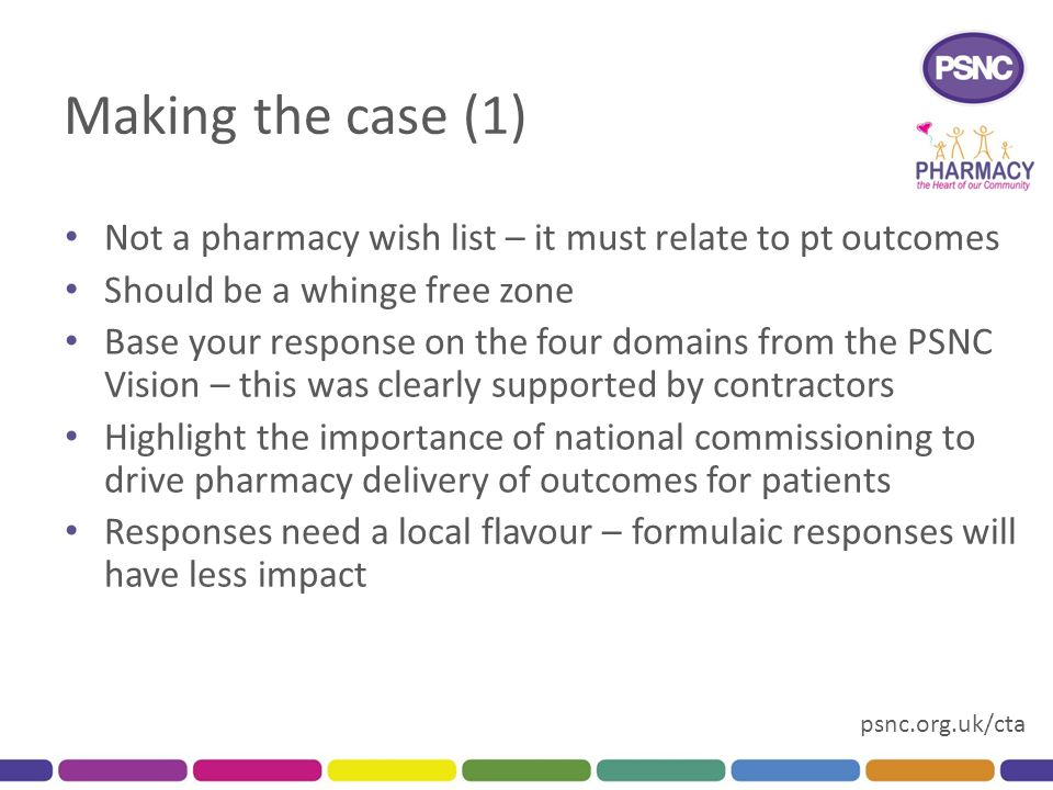 psnc.org.uk/cta Making the case (1) Not a pharmacy wish list – it must relate to pt outcomes Should be a whinge free zone Base your response on the four domains from the PSNC Vision – this was clearly supported by contractors Highlight the importance of national commissioning to drive pharmacy delivery of outcomes for patients Responses need a local flavour – formulaic responses will have less impact