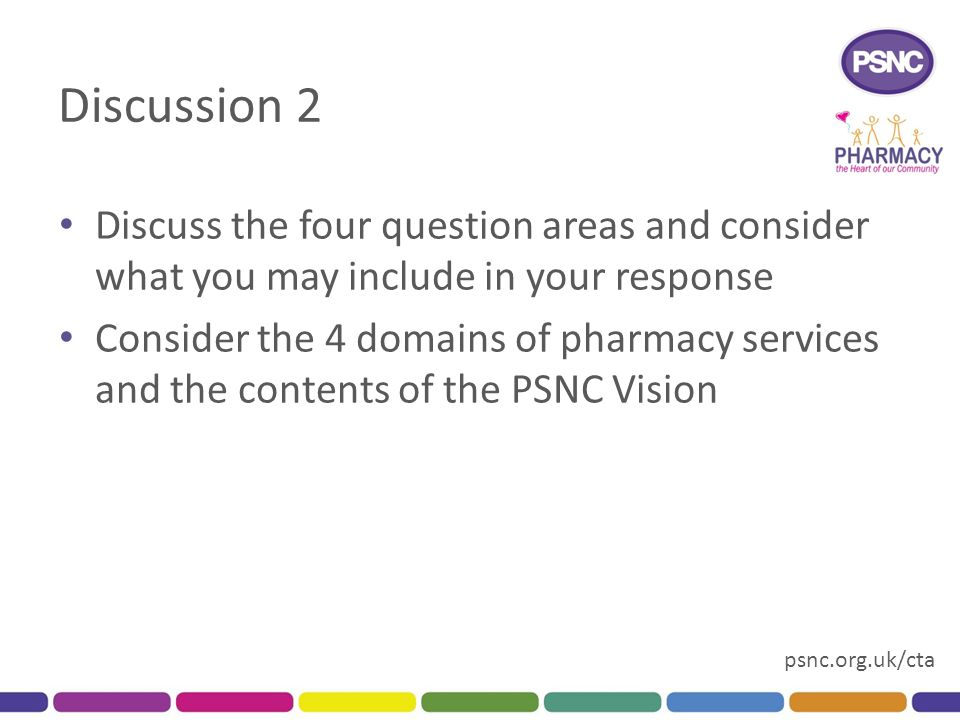 psnc.org.uk/cta Discussion 2 Discuss the four question areas and consider what you may include in your response Consider the 4 domains of pharmacy services and the contents of the PSNC Vision