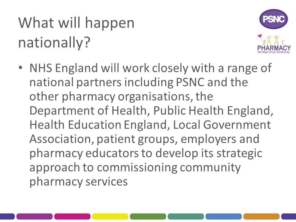What will happen nationally? NHS England will work closely with a range of national partners including PSNC and the other pharmacy organisations, the