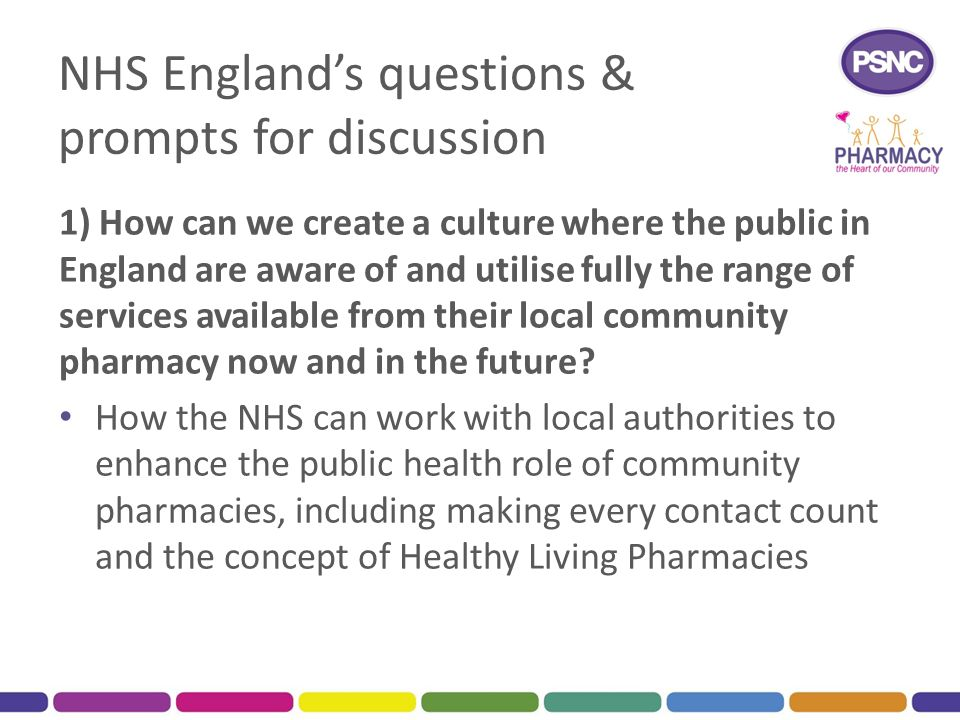 NHS England's questions & prompts for discussion 1) How can we create a culture where the public in England are aware of and utilise fully the range o
