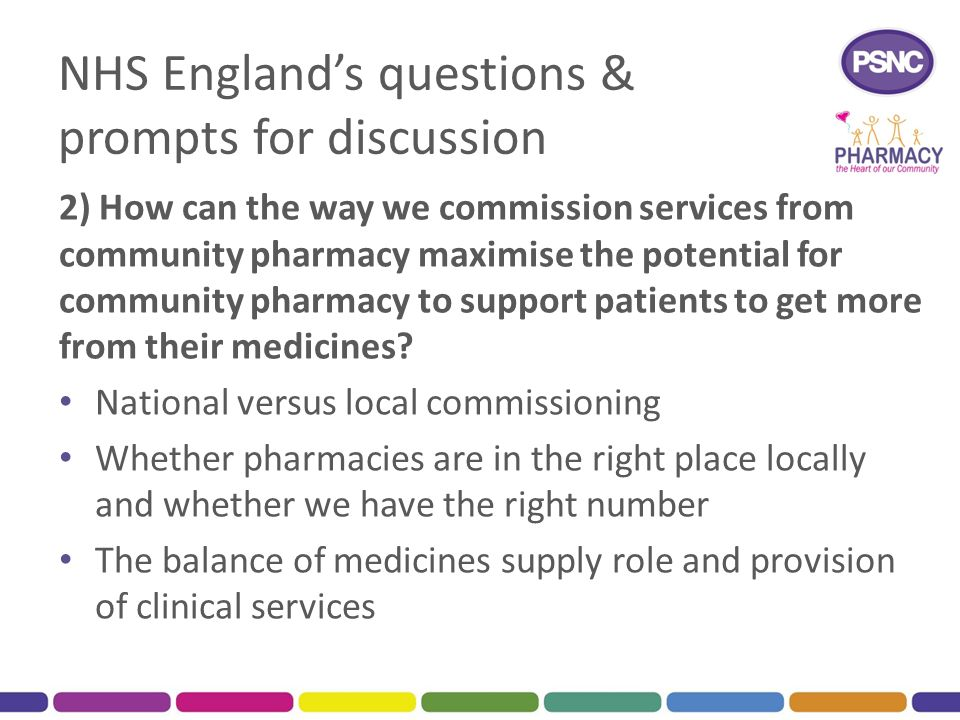 NHS England's questions & prompts for discussion 2) How can the way we commission services from community pharmacy maximise the potential for communit