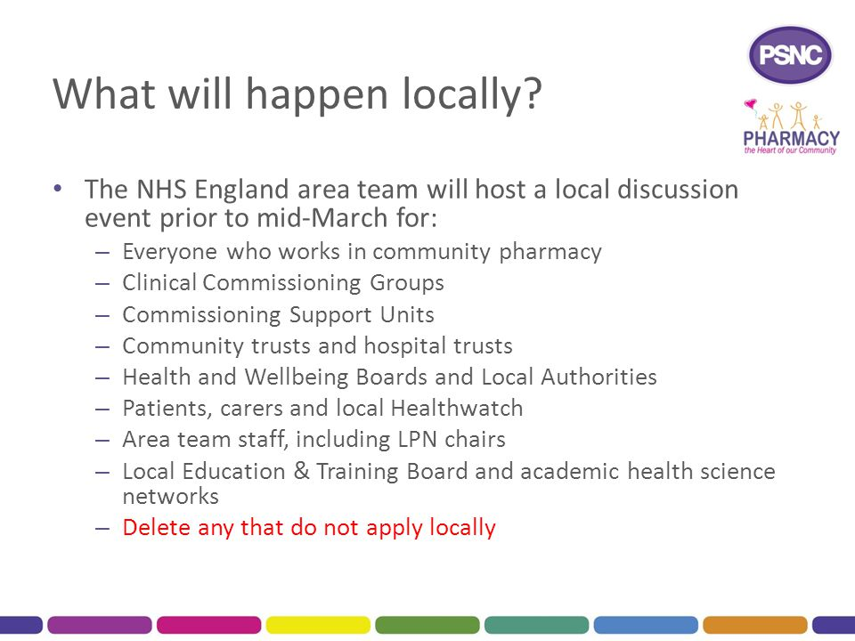 What will happen locally? The NHS England area team will host a local discussion event prior to mid-March for: – Everyone who works in community pharm