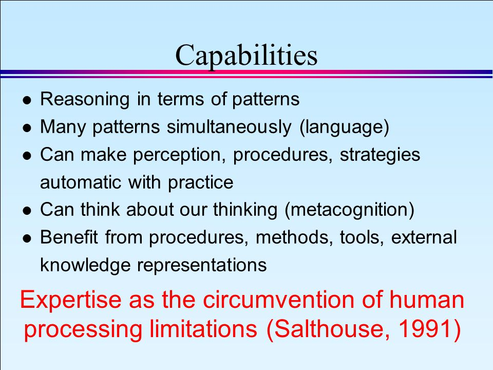 IAEA 2008 Slide 13 September 8, 2008 Capabilities l Reasoning in terms of patterns l Many patterns simultaneously (language) l Can make perception, procedures, strategies automatic with practice l Can think about our thinking (metacognition) l Benefit from procedures, methods, tools, external knowledge representations Expertise as the circumvention of human processing limitations (Salthouse, 1991)