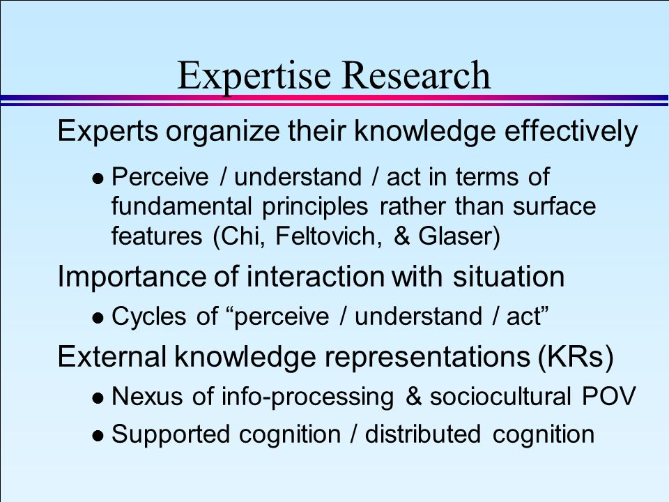 IAEA 2008 Slide 20 September 8, 2008 Expertise Research Experts organize their knowledge effectively l Perceive / understand / act in terms of fundamental principles rather than surface features (Chi, Feltovich, & Glaser) Importance of interaction with situation l Cycles of perceive / understand / act External knowledge representations (KRs) l Nexus of info-processing & sociocultural POV l Supported cognition / distributed cognition