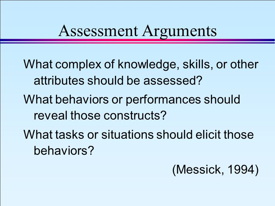 IAEA 2008 Slide 22 September 8, 2008 Assessment Arguments What complex of knowledge, skills, or other attributes should be assessed.