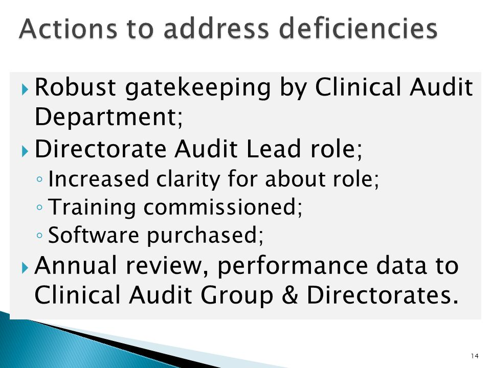  Robust gatekeeping by Clinical Audit Department;  Directorate Audit Lead role; ◦ Increased clarity for about role; ◦ Training commissioned; ◦ Softw