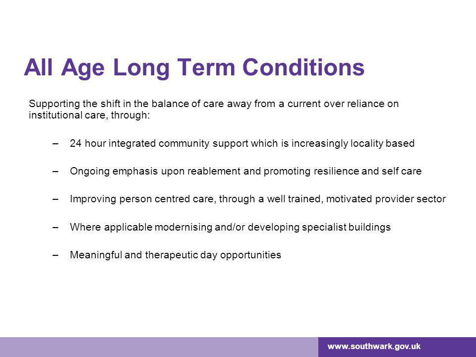 All Age Long Term Conditions Supporting the shift in the balance of care away from a current over reliance on institutional care, through: –24 hour integrated community support which is increasingly locality based –Ongoing emphasis upon reablement and promoting resilience and self care –Improving person centred care, through a well trained, motivated provider sector –Where applicable modernising and/or developing specialist buildings –Meaningful and therapeutic day opportunities
