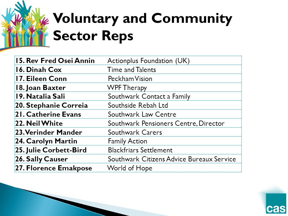 Voluntary and Community Sector Reps 15. Rev Fred Osei Annin Actionplus Foundation (UK) 16.