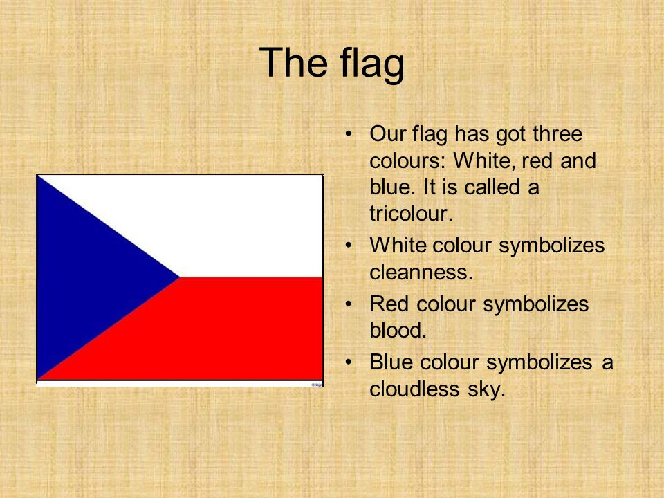 The flag Our flag has got three colours: White, red and blue.