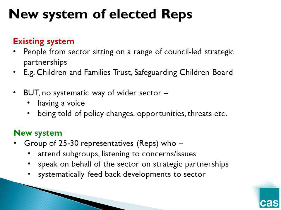 Existing system People from sector sitting on a range of council-led strategic partnerships E.g.