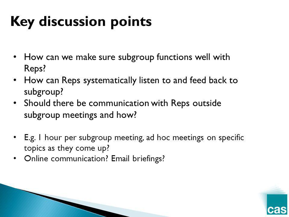 Key discussion points How can we make sure subgroup functions well with Reps? How can Reps systematically listen to and feed back to subgroup? Should