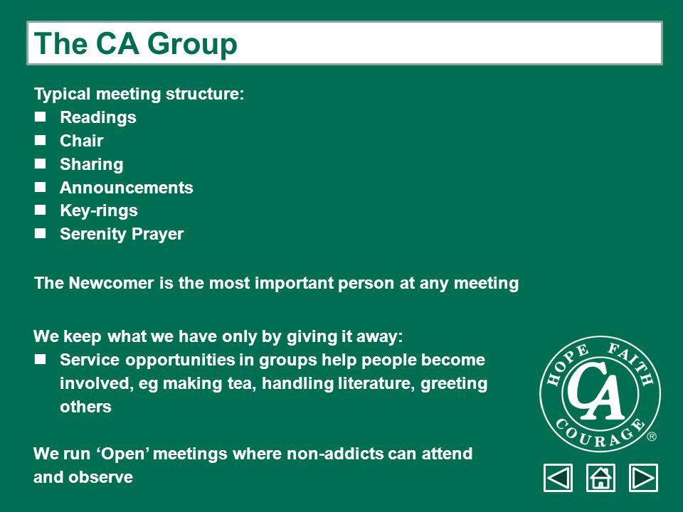 The CA Group Typical meeting structure: Readings Chair Sharing Announcements Key-rings Serenity Prayer The Newcomer is the most important person at an