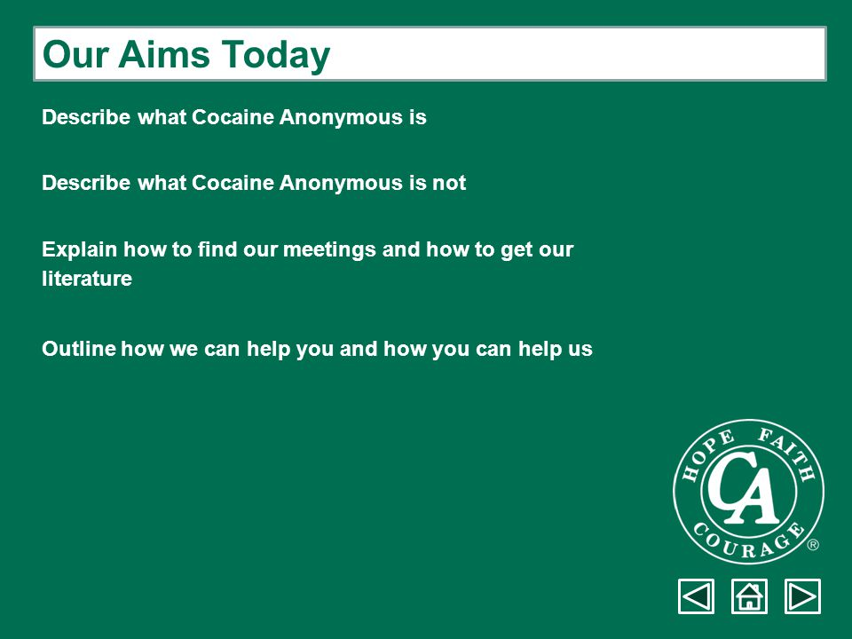 Question & Answer Period Cocaine Anonymous