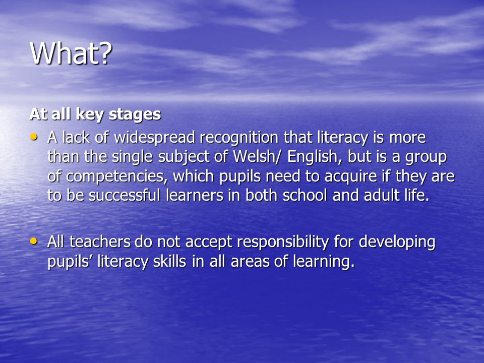 What? At all key stages A lack of widespread recognition that literacy is more than the single subject of Welsh/ English, but is a group of competenci