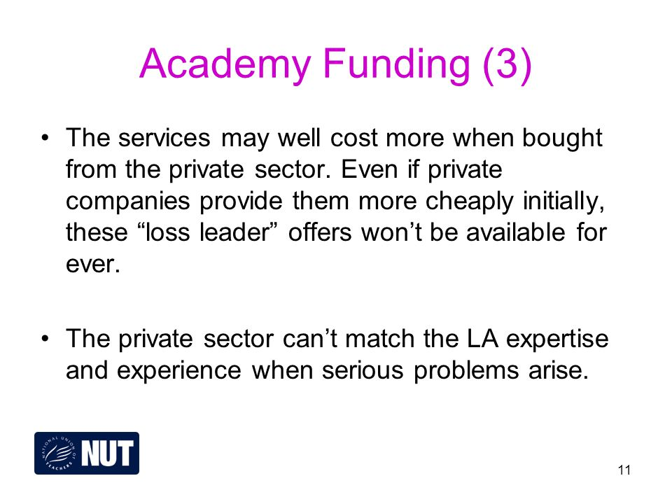 11 Academy Funding (3) The services may well cost more when bought from the private sector.