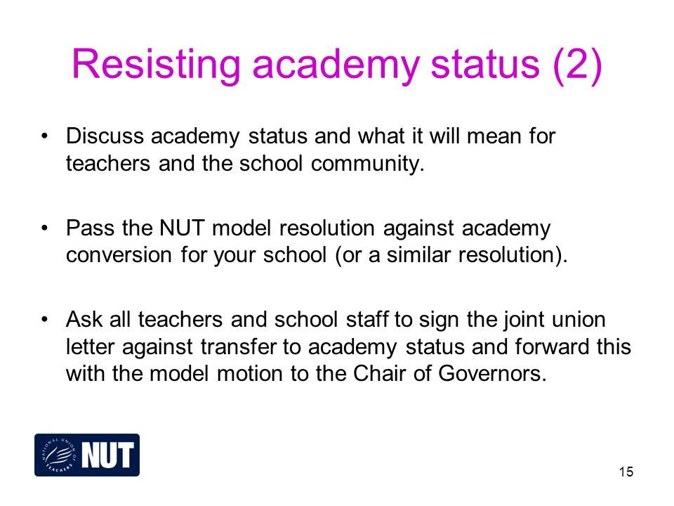 15 Resisting academy status (2) Discuss academy status and what it will mean for teachers and the school community.