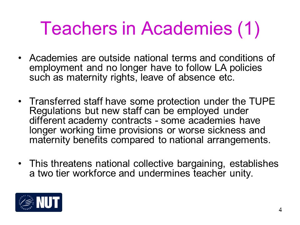 4 Teachers in Academies (1) Academies are outside national terms and conditions of employment and no longer have to follow LA policies such as maternity rights, leave of absence etc.