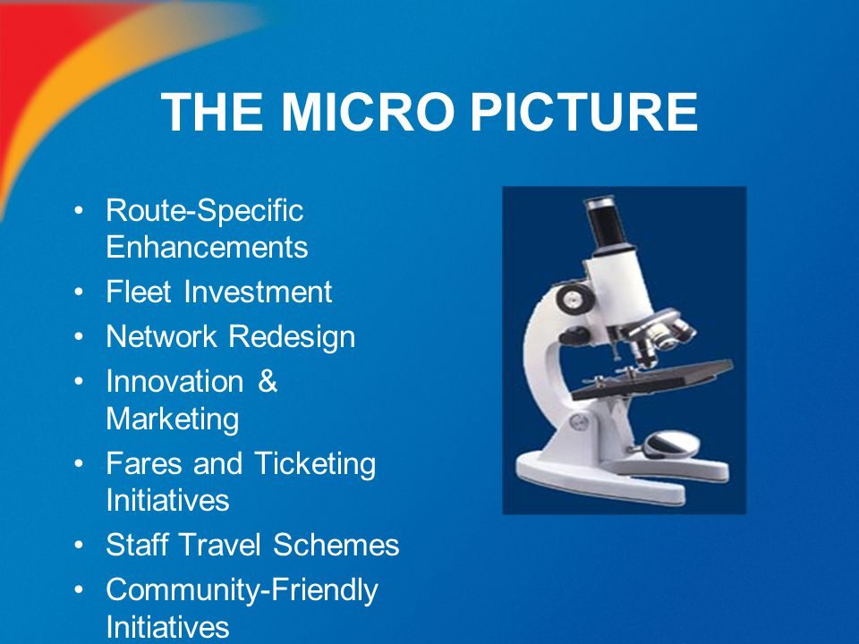 THE MICRO PICTURE Route-Specific Enhancements Fleet Investment Network Redesign Innovation & Marketing Fares and Ticketing Initiatives Staff Travel Sc