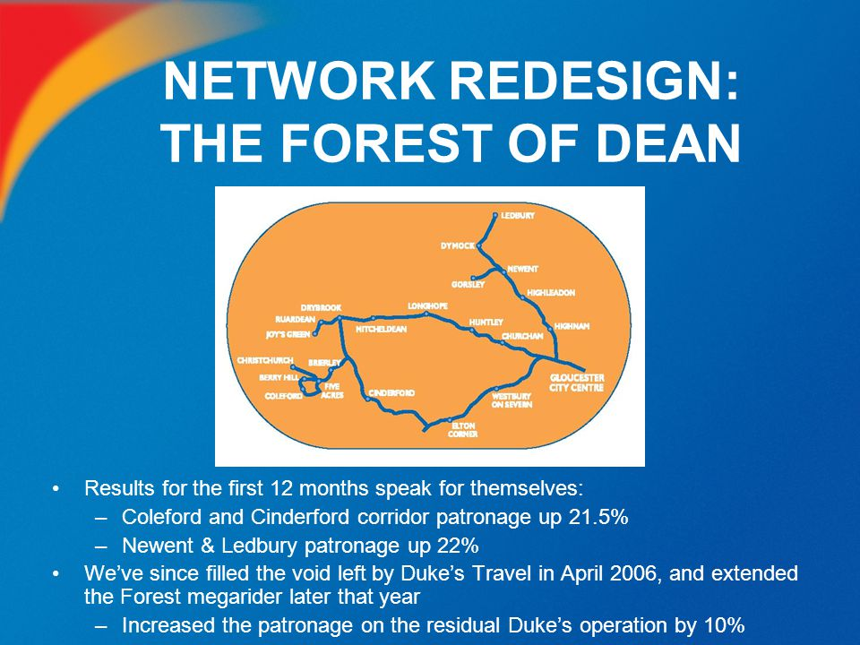 NETWORK REDESIGN: THE FOREST OF DEAN Results for the first 12 months speak for themselves: –Coleford and Cinderford corridor patronage up 21.5% –Newen