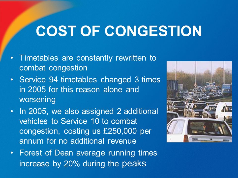 COST OF CONGESTION Timetables are constantly rewritten to combat congestion Service 94 timetables changed 3 times in 2005 for this reason alone and wo