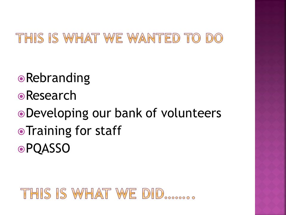  Rebranding  Research  Developing our bank of volunteers  Training for staff  PQASSO