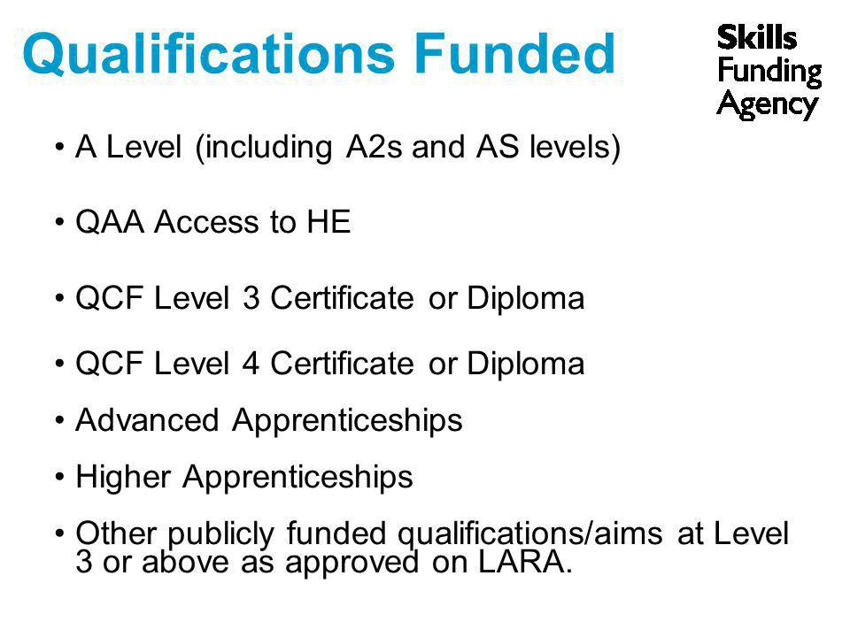 Qualifications Funded A Level (including A2s and AS levels) QAA Access to HE QCF Level 3 Certificate or Diploma QCF Level 4 Certificate or Diploma Adv