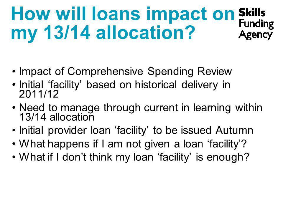 How will loans impact on my 13/14 allocation? Impact of Comprehensive Spending Review Initial 'facility' based on historical delivery in 2011/12 Need
