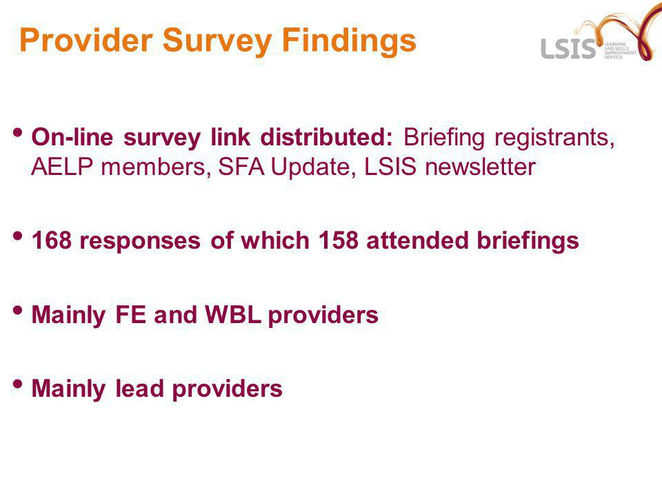 Provider Survey Findings On-line survey link distributed: Briefing registrants, AELP members, SFA Update, LSIS newsletter 168 responses of which 158 a