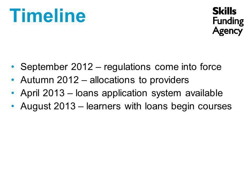 Timeline September 2012 – regulations come into force Autumn 2012 – allocations to providers April 2013 – loans application system available August 2013 – learners with loans begin courses