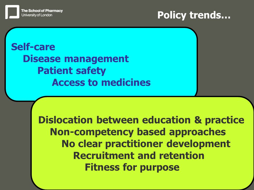 Self-care Disease management Patient safety Access to medicines Policy trends… Dislocation between education & practice Non-competency based approaches No clear practitioner development Recruitment and retention Fitness for purpose