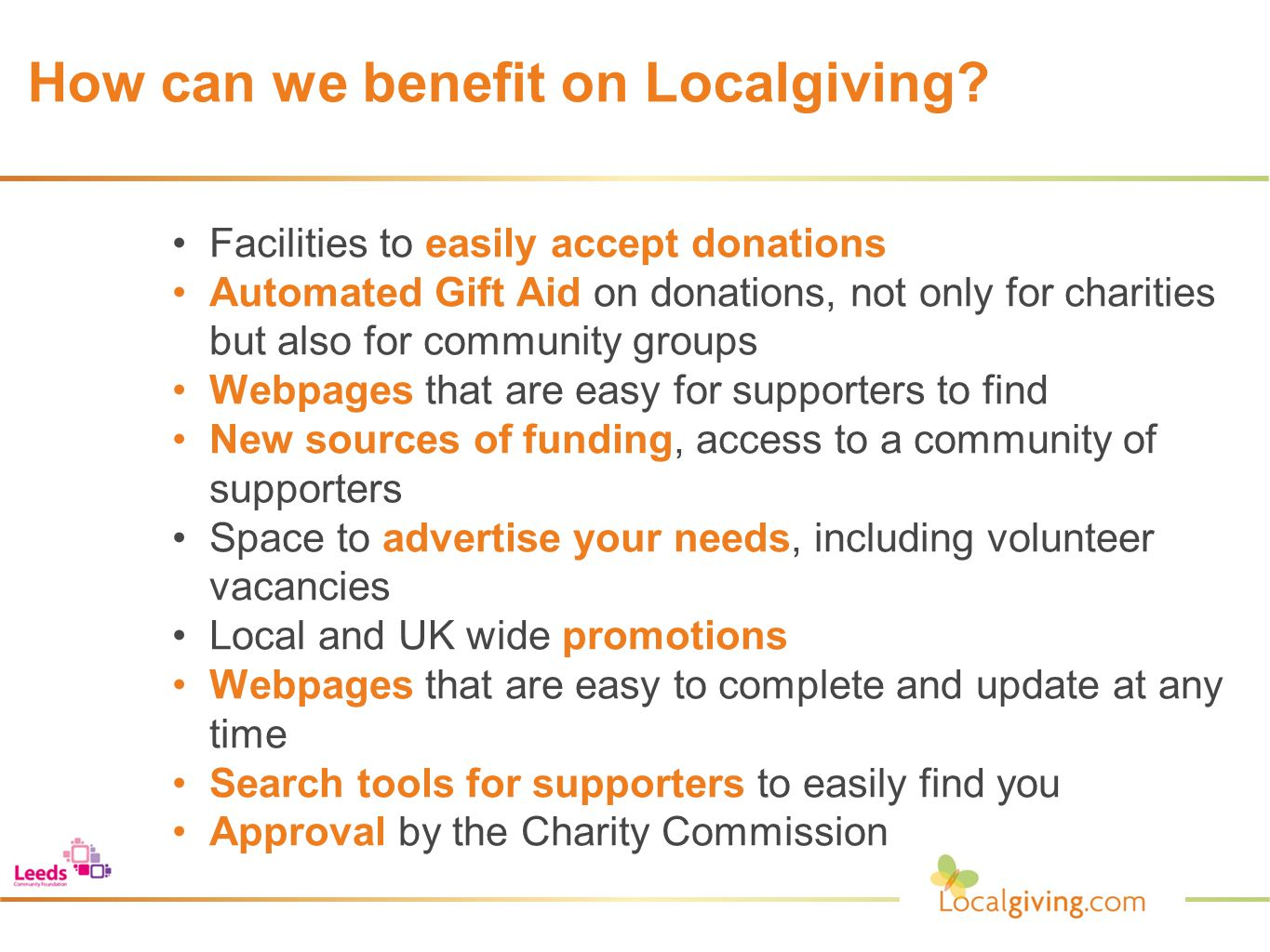 How can we benefit on Localgiving.