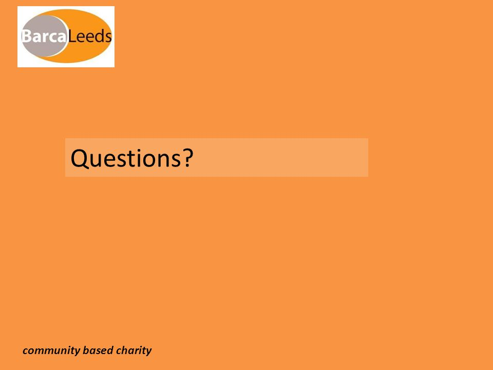Questions? community based charity