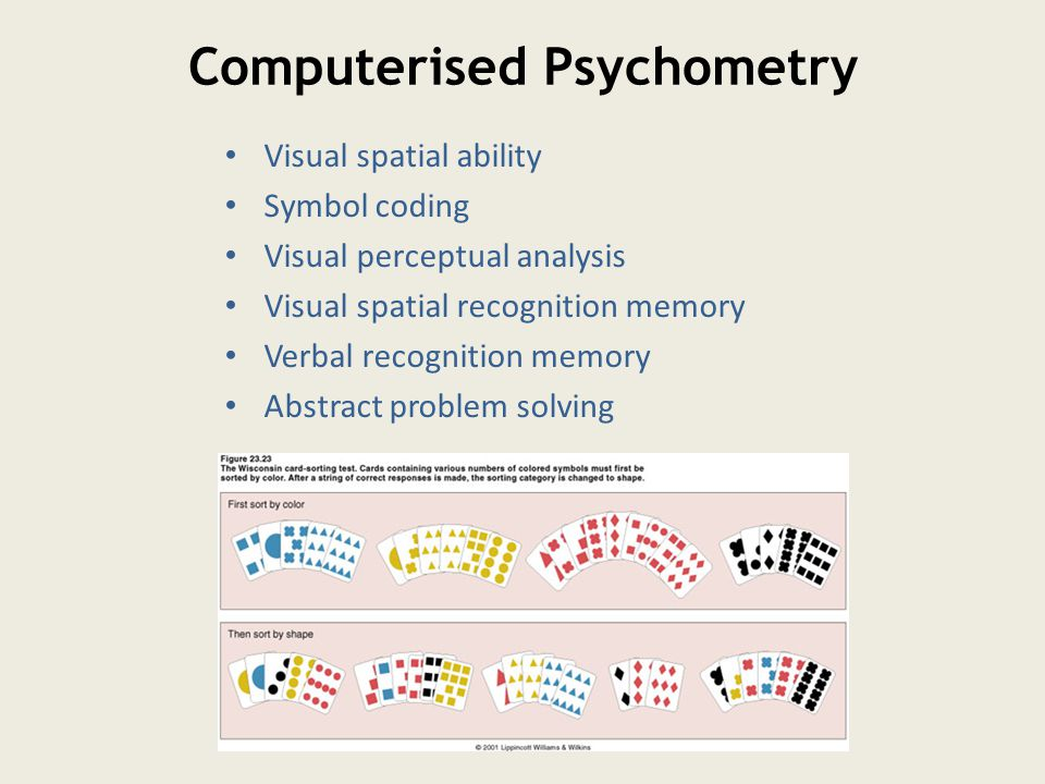 Computerised Psychometry Visual spatial ability Symbol coding Visual perceptual analysis Visual spatial recognition memory Verbal recognition memory Abstract problem solving