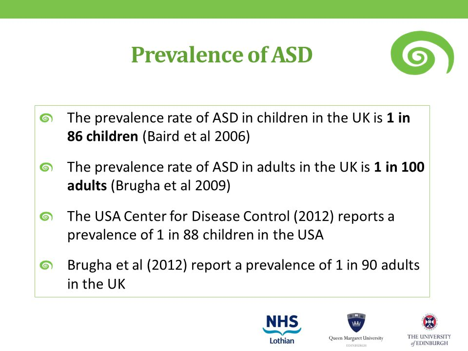 Prevalence of ASD The prevalence rate of ASD in children in the UK is 1 in 86 children (Baird et al 2006) The prevalence rate of ASD in adults in the UK is 1 in 100 adults (Brugha et al 2009) The USA Center for Disease Control (2012) reports a prevalence of 1 in 88 children in the USA Brugha et al (2012) report a prevalence of 1 in 90 adults in the UK