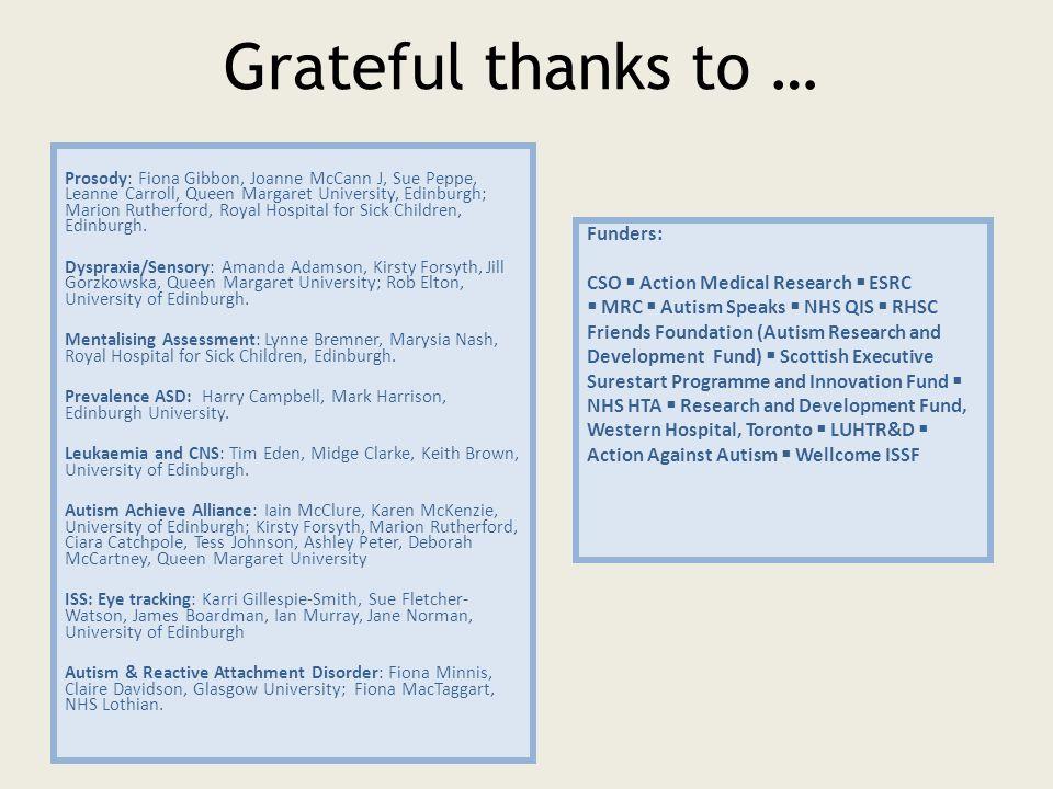 Grateful thanks to … Prosody: Fiona Gibbon, Joanne McCann J, Sue Peppe, Leanne Carroll, Queen Margaret University, Edinburgh; Marion Rutherford, Royal Hospital for Sick Children, Edinburgh.